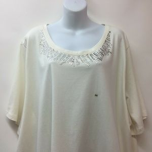 Liz And Me 3X Ivory Stretch Knit Top Shirt Blouse